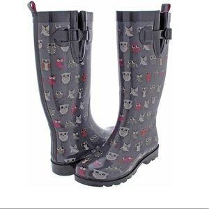 Women Shiny Pop Owls Printed Rain Boot